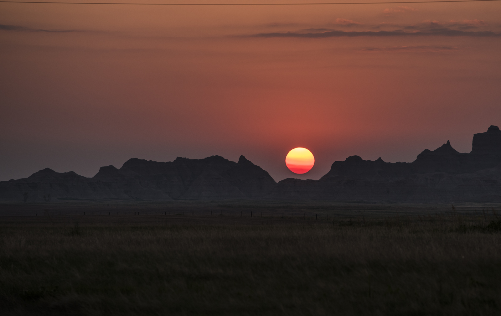 Sunset over the Badlands National Park.