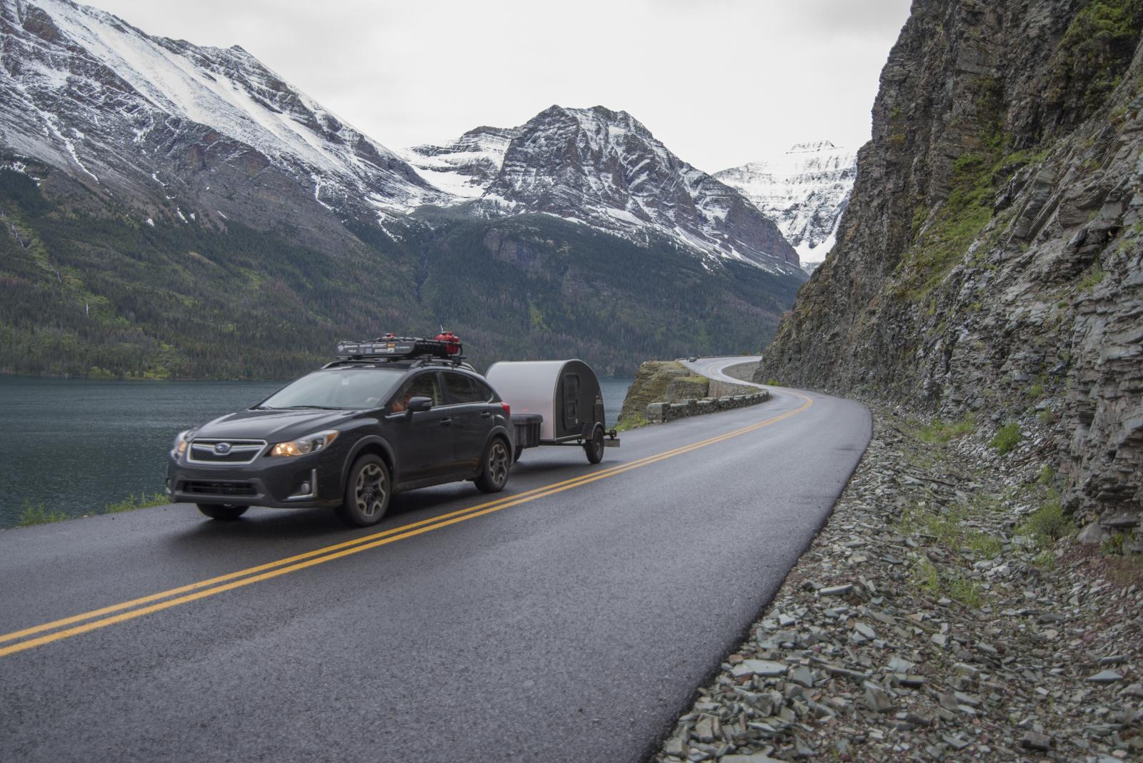 Chris driving the Subaru through Glacier National Park, Montana.