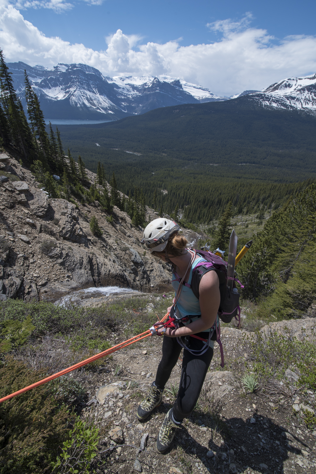 Megan repelling off Mount Hector in Banff National Park, Alberta, Canada.