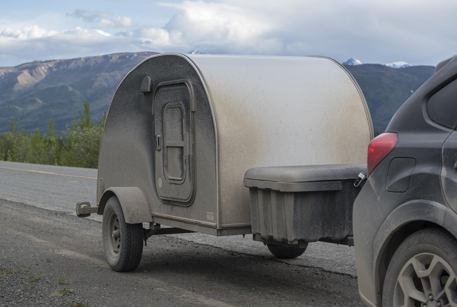 Our Tear Drop Camper on The Alaska Highway.
