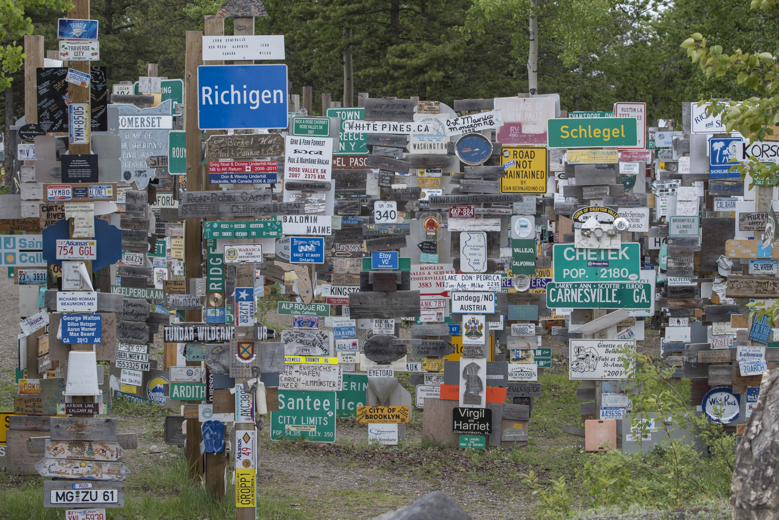 The famous Sign Post Forest in Watson Lake, Yukon, Canada.