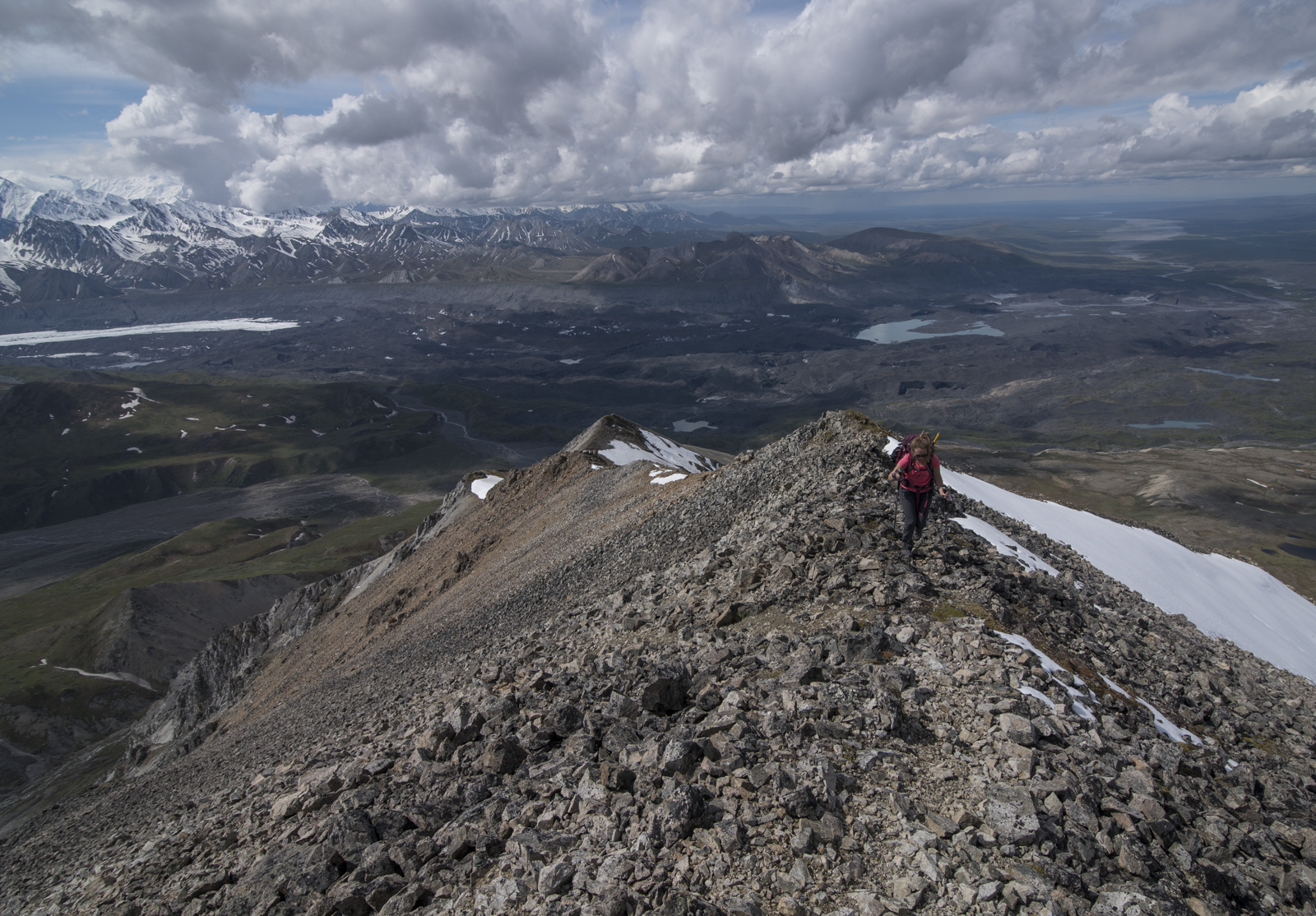 Megan making her way up the last ridge to the summit of Mount Eielson.