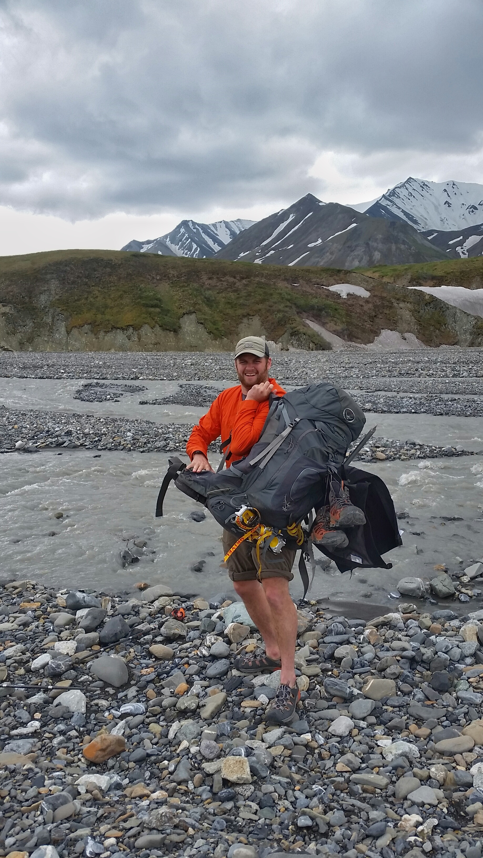 Chris preparing to cross the braided rivers.