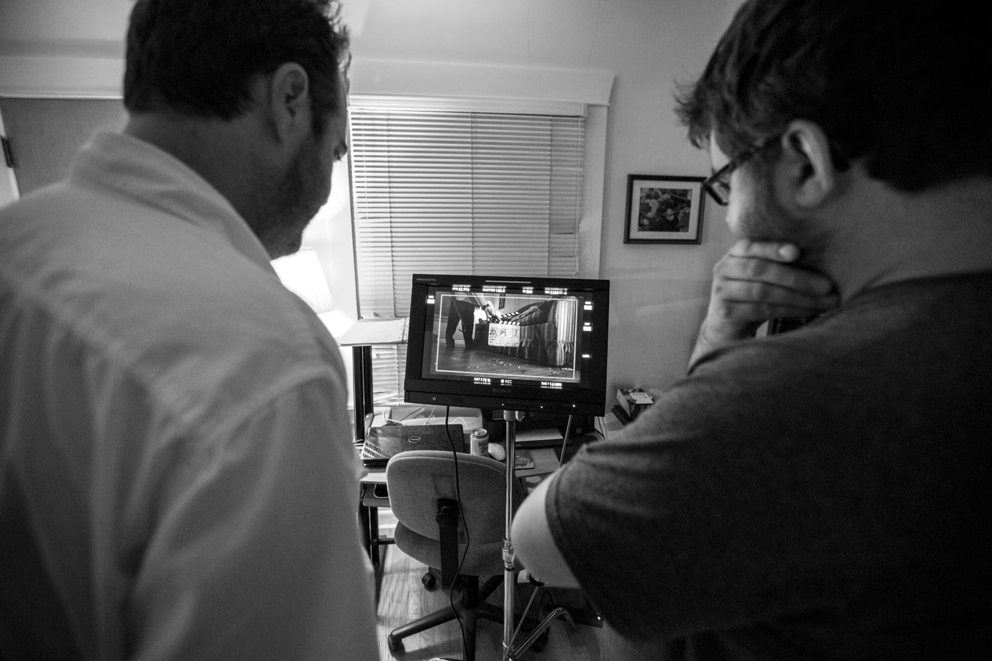 Writer/Director Drew Barnhardt and producer Guy Clark on the set of Rondo.