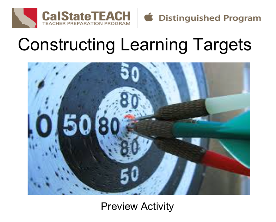 Preview Activity - Learning Targets document