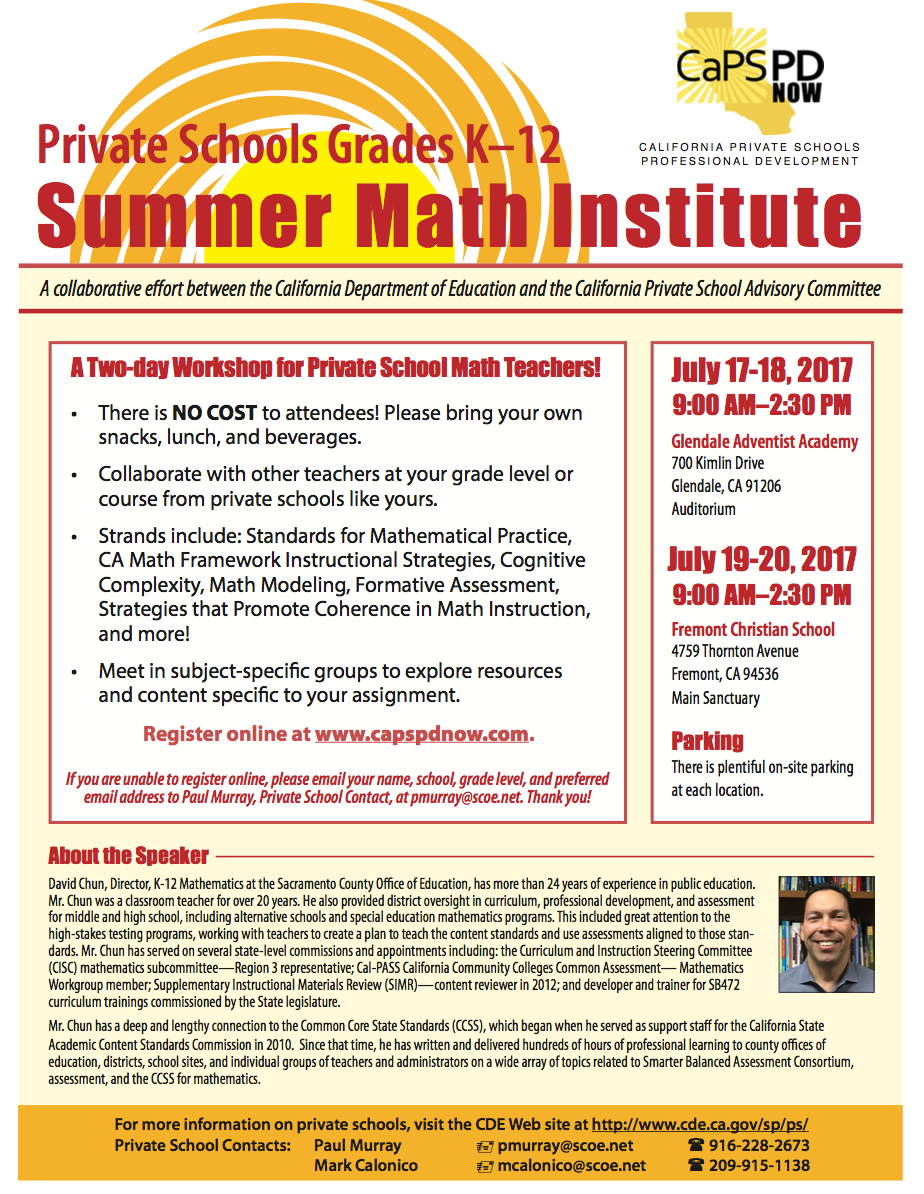 Flyer for Summer Math Institute.