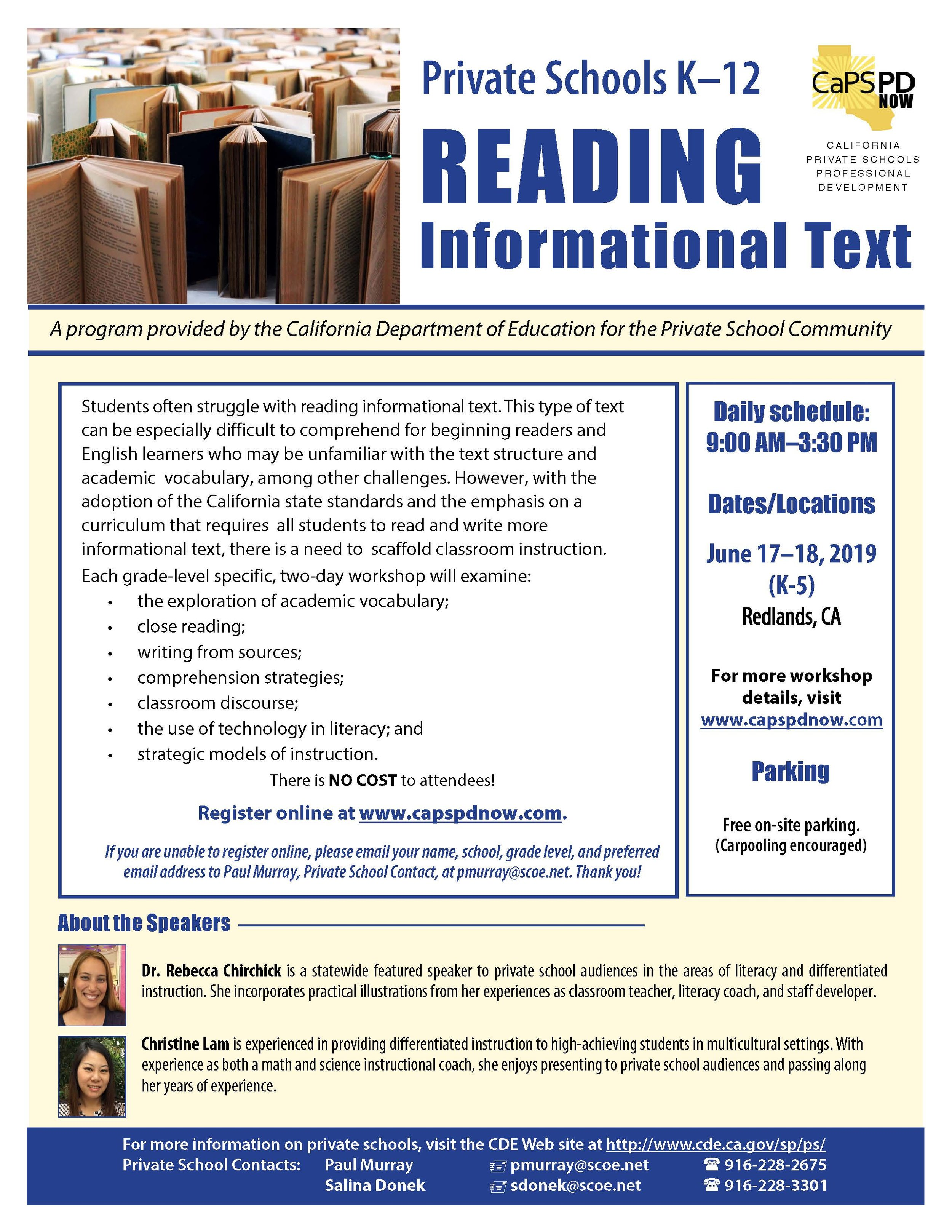 Picture of flyer for the Reading Informational Texts Workshops