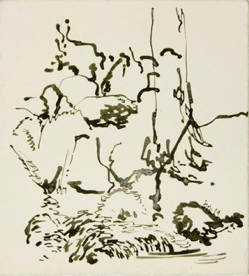 Robert Lobe, Mossy Brook 2, 2009, ink on paper, 11x10 inches