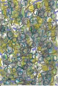 "hieroglyphic forest    Alan Lau mixed media, 2011 5"" 3/4 x 4"" 43-445"