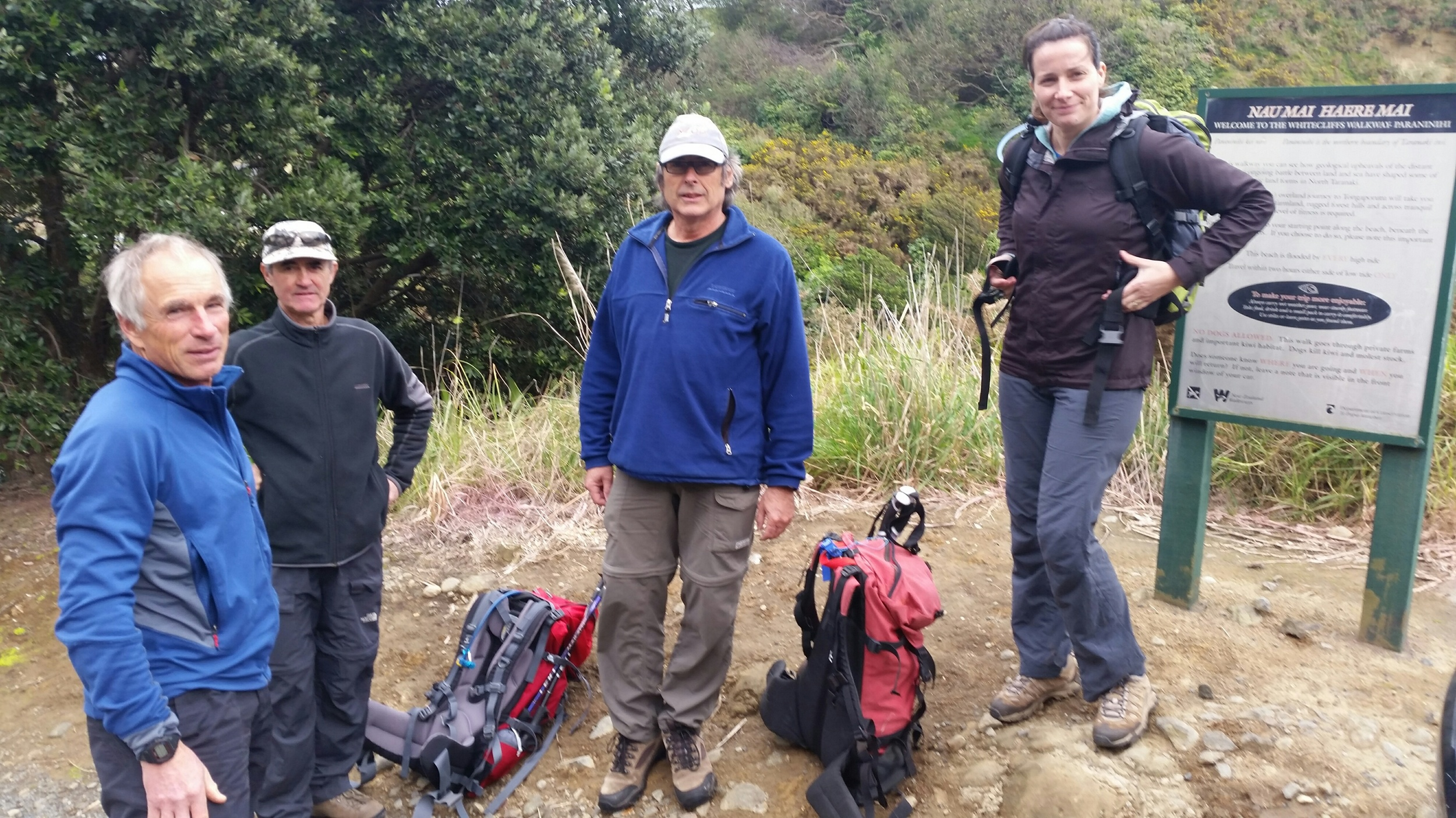 Four of the Whitecliffsand East Egmont guides out sharing their knowledge and checking out some of the features on the Whitecliffs walk. From left Don Patterson. Nick Johnson, Rex Hendry and Melanie Wilson.