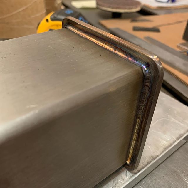 """Capping the ends of some 3""""x10"""" leg extensions for the @bbbthreerivers mash tun. Welds came out nice.  #welding #tig #stainlesswelding #craftbrewing #gtaw #ahpalphatig200x"""