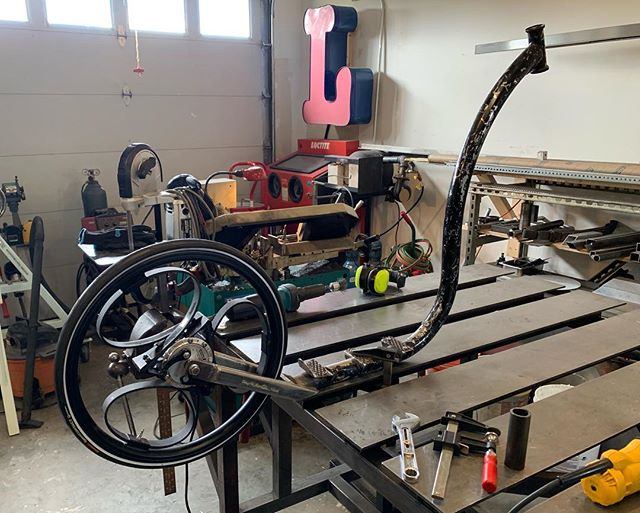Interesting morning project. Mounting this self dampening carbon fiber rear wheel to this somewhat bizarre  bike/scooter from Finland. The owner flew it from his home in Finland to his summer house in Maine to have it worked on because he couldn't find a shop to do it back home. Anyway all welded up and ready for paint.  #welding #customfabrication #custombicycle #handmade #mainemade