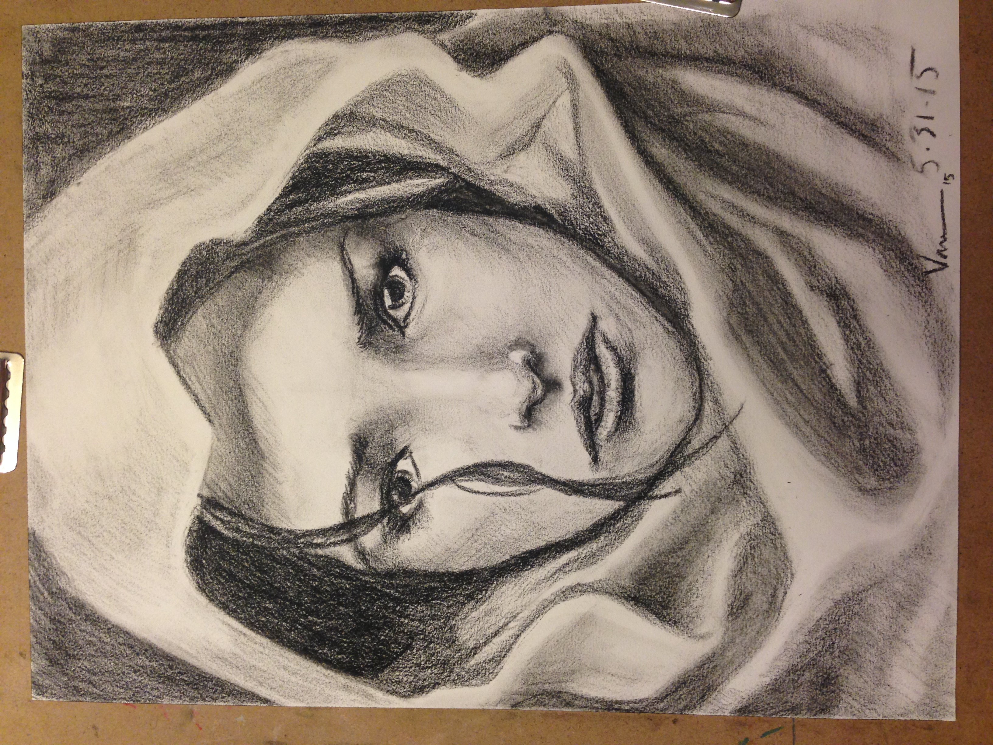 Charcoal portrait. Nitram charcoal on Canson Mi-Teintes.