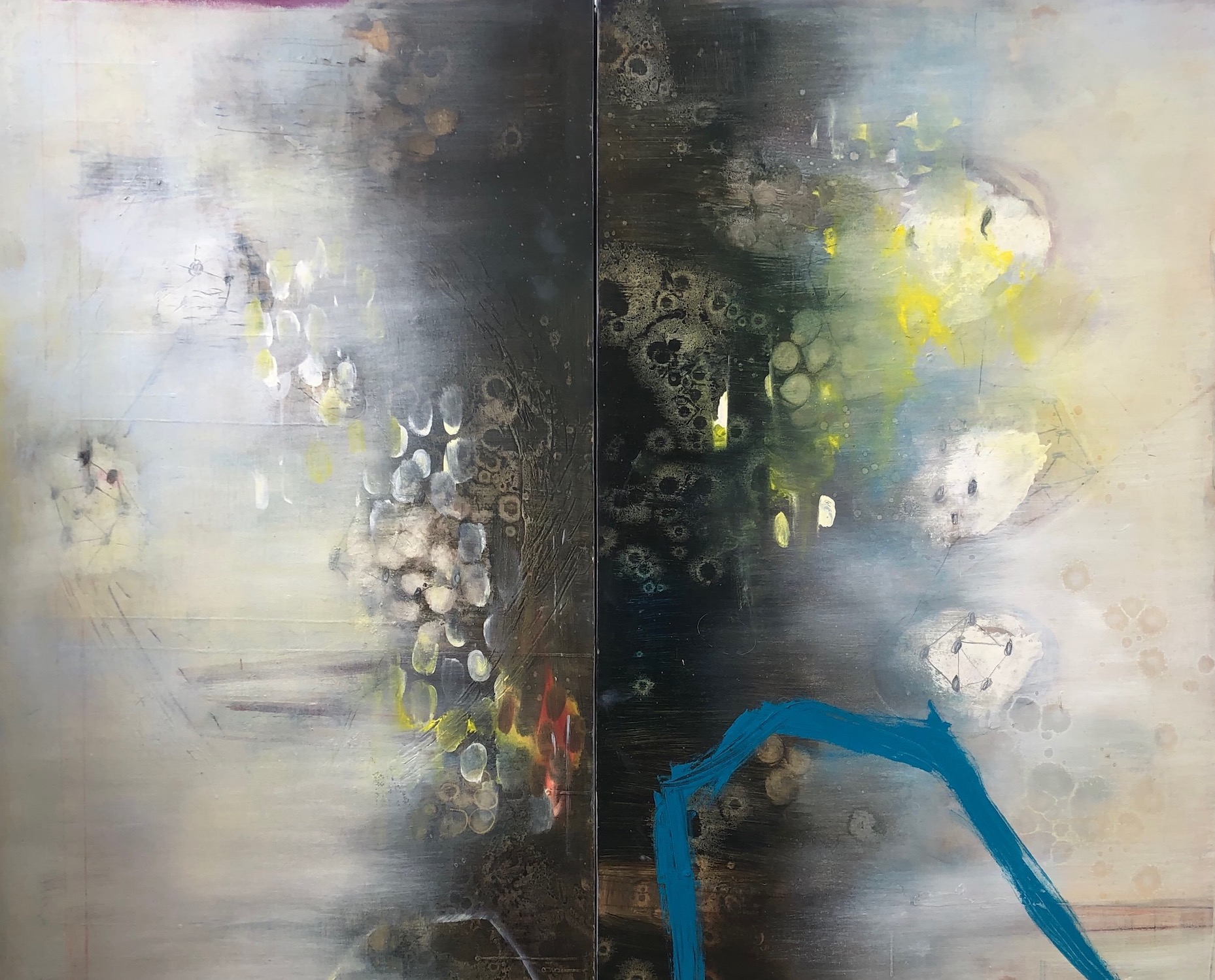 Lauren Mantecon, Mingle, mixed media and oil on panels, 42x37, 2019