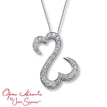 Open Hearts by Jane Seymour® Diamond Necklace    Featuring the open hearts design showered in brilliant round diamonds. One carat total weight. Crafted of 14K white gold.