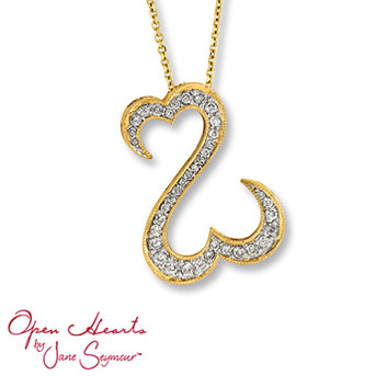 Open Hearts by Jane Seymour® Diamond Necklace    The open hearts design with stunning round diamonds in this remarkable necklace for her. Styled in 14K yellow gold. 1/2 carat total weight.