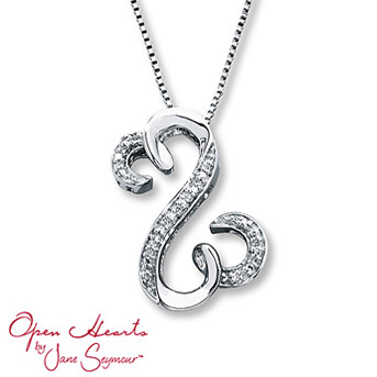 Open Hearts Necklace 1/20 ct tw Diamonds Sterling Silver    Suspended from an 18-inch box chain and is secured with a lobster clasp. Diamond Total Carat Weight may range from .04 - .06 carats.