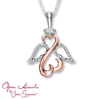 Open Heart Necklace 1/20 cttw Diamonds Sterling Silver/10K Gold    Suspended from an 18-inch box chain secured with a lobster clasp. Diamond Total Carat Weight may range from .04 - .06 carats.