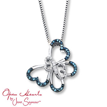 Open Hearts Butterfly Blue Diamonds Sterling Silver Necklace    A charming butterfly features the iconic Open Hearts by Jane Seymour® design at its center and is adorned in round blue and white diamonds.