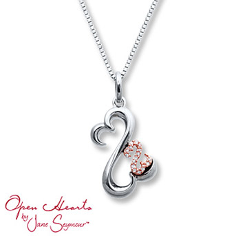 Open Hearts Necklace Diamond Accents Sterling Silver/10K Gold    The larger Open Heart is crafted of sterling silver, the smaller Open Heart is styled in 10K rose gold and decorated with diamonds.
