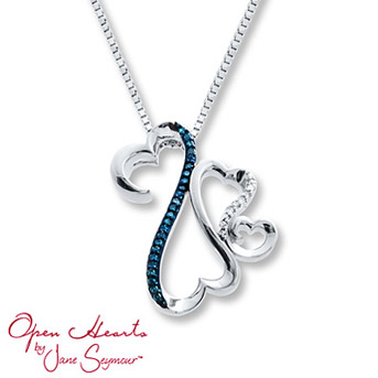 Open Hearts Family Blue/White Diamonds Sterling Silver Necklace    Blue Diamonds are treated to permanently create the intense blue color. Diamond Total Carat Weight may range from .065 - .08 carats.