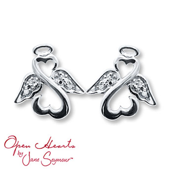Ope    n Heart Angel Earrings Diamond Accents Sterling Silver        The iconic Open Hearts design forms an adorable angel in each of these earrings from the Open Hearts by Jane Seymour® collection. Diamond-decorated wings and a sterling silver halo complete the heavenly look. The earrings are secured with friction backs.