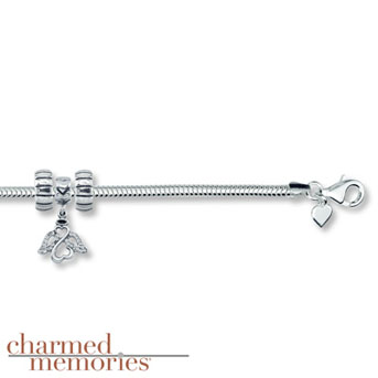 """Charmed Memories® Open Hearts by Jane Seymour® 8"""" Bracelet    Sterling Silver bracelet features an Open Hearts by Jane Seymour® angel charm accented with genuine Swarovski® crystals. Comes with two stopper charms."""