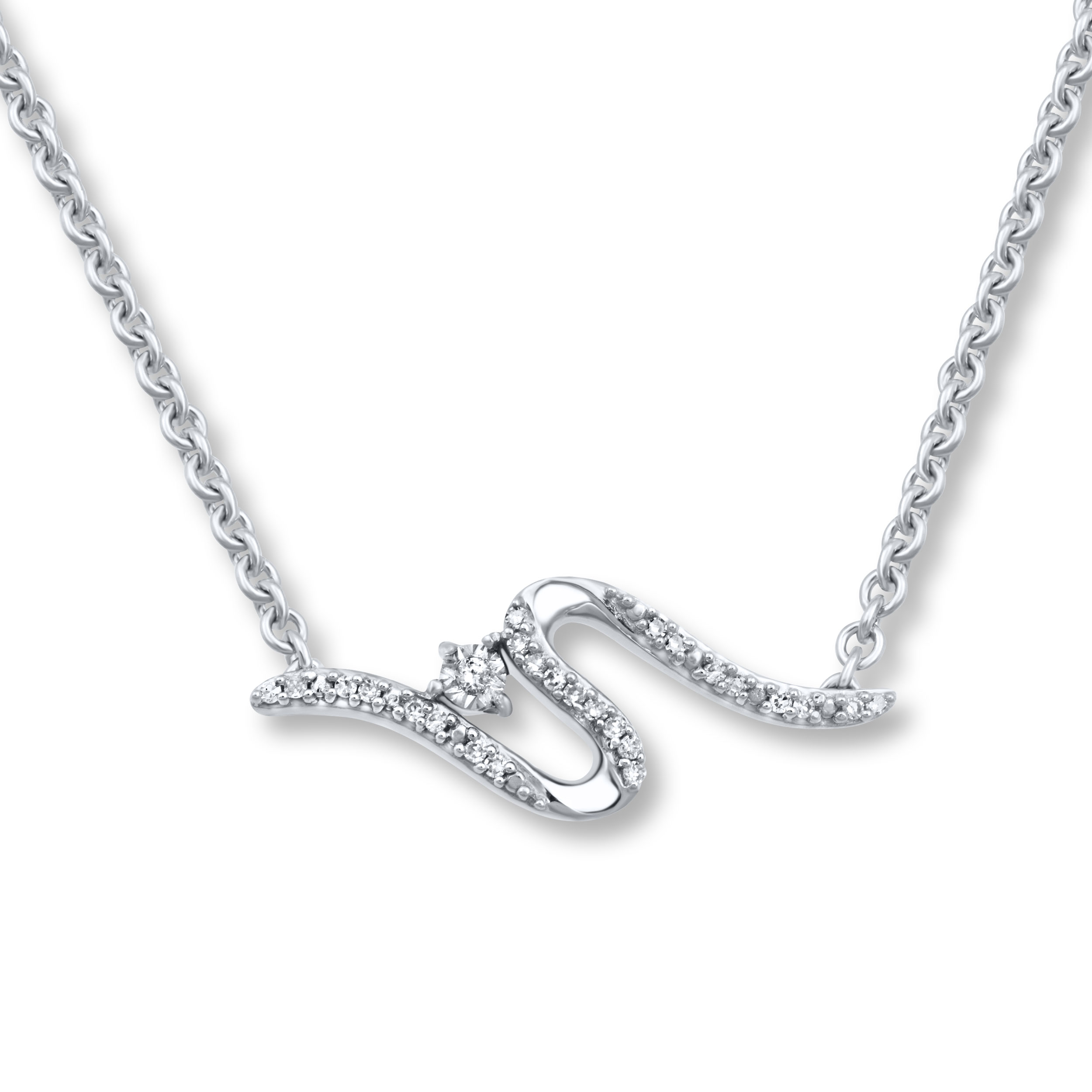 Open Hearts Road Ahead Diamond Necklace 1/4 ct tw 10K Gold