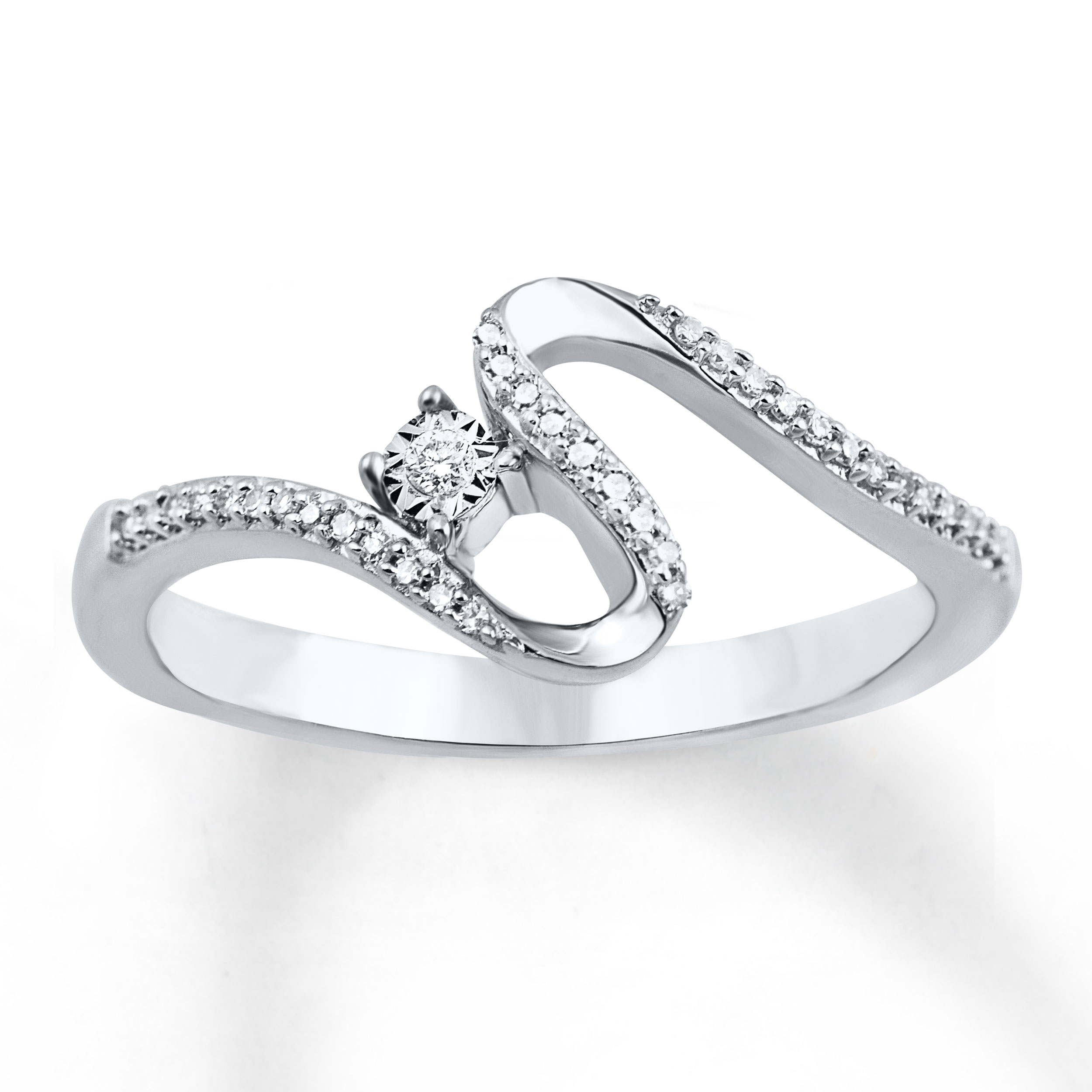 Open Hearts Road Ahead Ring 1/10 ct tw Diamonds Sterling Silver