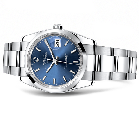 rolex watch datejust 36 mm gvin gol  blue face.png