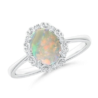 Opal has an incredible shade-changing trait. Look at it under different lights or against various backgrounds to see its full spectrum of iridescence and tone.