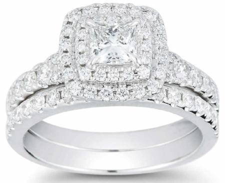 PRINCESS CUT & ROUND BRILLIANT 1.45 CTW VS2 CLARITY, I COLOR DIAMOND 14KT WHITE GOLD WEDDING SET