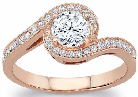 ROUND BRILLIANT 1.05 CTW VS2 CLARITY, I COLOR DIAMOND 18KT ROSE GOLD RING