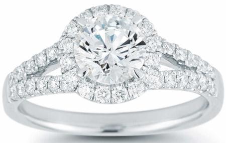 ROUND BRILLIANT 1.35 CTW VS2 CLARITY, I COLOR DIAMOND PLATINUM RING