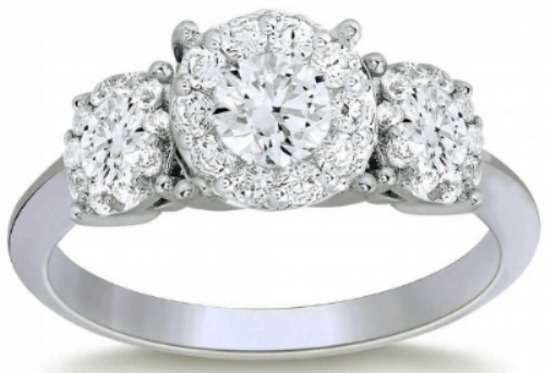ROUND BRILLIANT 1.44 CTW VS2 CLARITY, I COLOR DIAMOND PLATINUM THREE STONE RING  2,700.00