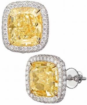 Cushion+Cut+and+Round+Brilliant+11.52ctw+VS1_VS2+Clarity+Fancy+Yellow+Diamond+Platinum+Earrings+1.jpg