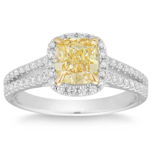 Cushion Cut 1 51 Ct Vs1 Clarity Fancy Yellow Diamond Platinum 1 83 Ctw Ring