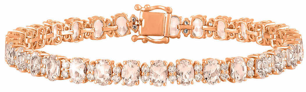 Oval Cut Morganite and Diamond 14kt Rose Gold Bracelet 1.jpg