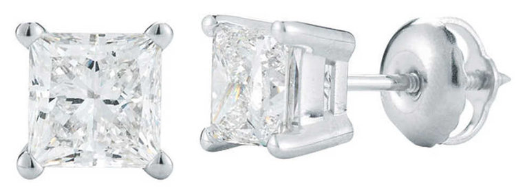 PRINCESS CUT 1.00 CTW VS2 CLARITY, I COLOR DIAMOND PLATINUM SCREWBACK STUD EARRINGS.jpg
