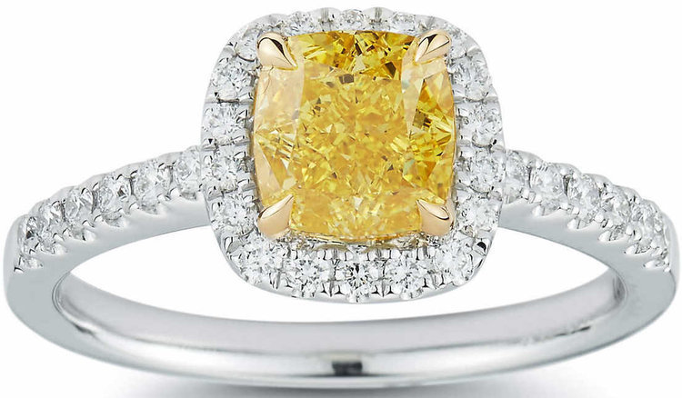 CUSHION CUT 1.50 CT VVS2 CLARITY, FANCY VIVID YELLOW DIAMOND PLATINUM 1.85 CTW RING.jpg
