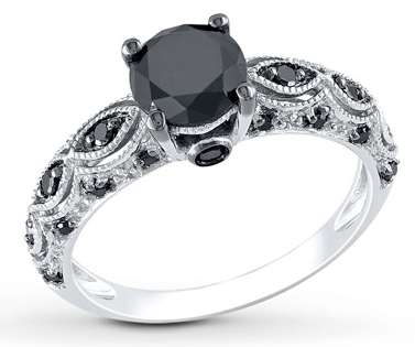 BLACK DIAMOND RING 1-1/4 CARATS TW 10K WHITE GOLD