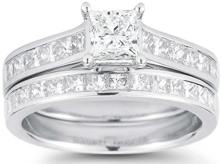 PRINCESS CUT 2.05 CTW VS2, I DIAMOND PLATINUM WEDDING SET