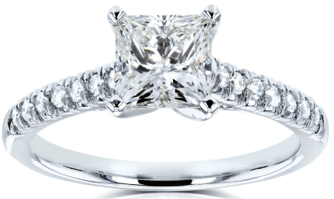 PRINCESS-CUT DIAMOND ENGAGEMENT RING 1.70 CARAT (CTW) IN 14K WHITE GOLD