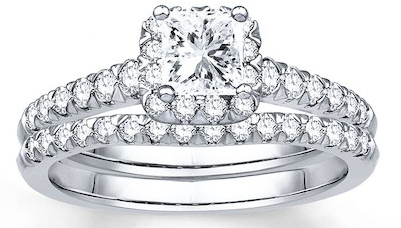 DIAMOND BRIDAL SET 7/8 CT TW PRINCESS/ROUND PLATINUM