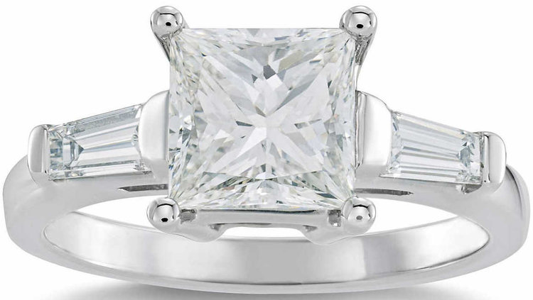 PRINCESS CUT 2.39 CTW VS1 CLARITY, G COLOR DIAMOND BAGUETTE PLATINUM RING