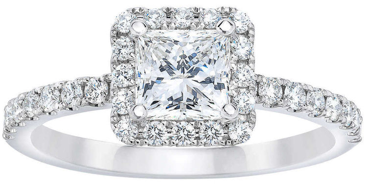PRINCESS CUT 1.07 CTW VS2 CLARITY, I COLOR DIAMOND PLATINUM RING