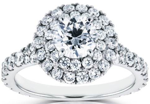 DIAMOND DOUBLE HALO CATHEDRAL ENGAGEMENT RING 2.00 CTW IN 14K WHITE GOLD