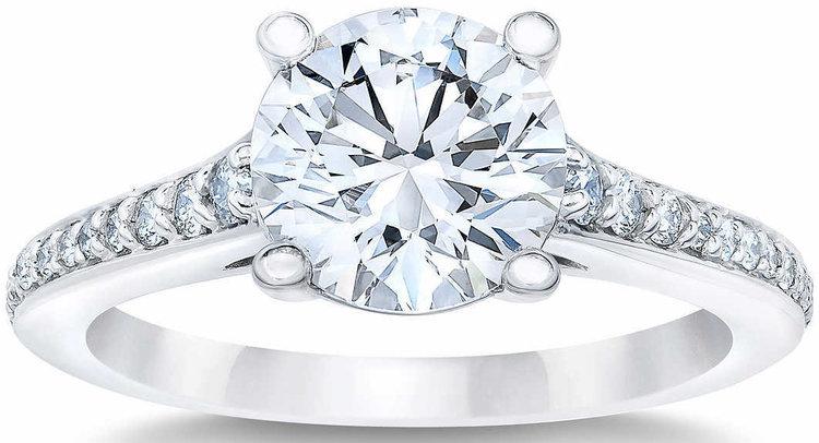 ROUND BRILLIANT 2.14 CTW VVS2 CLARITY, I COLOR DIAMOND PLATINUM WEDDING RING