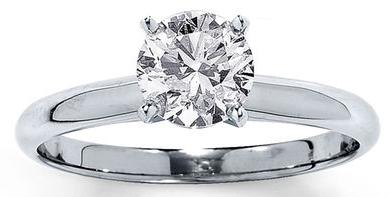 DIAMOND SOLITAIRE RING 1 CARAT ROUND-CUT 14K WHITE GOLD