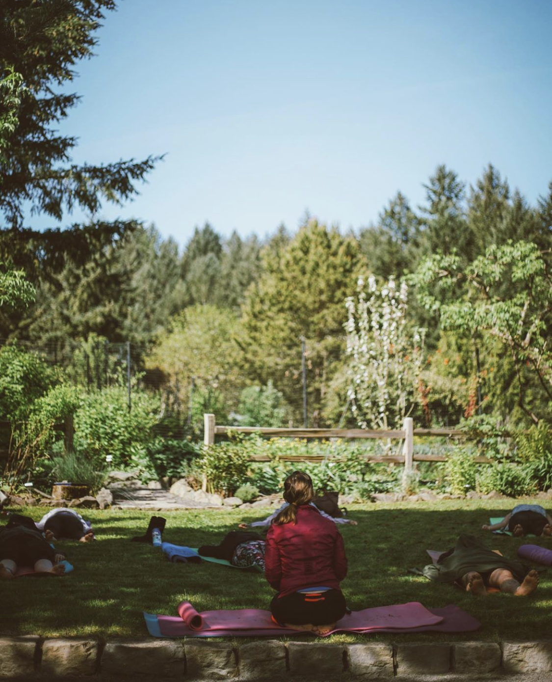 Yoga in the garden of the Dundee hills